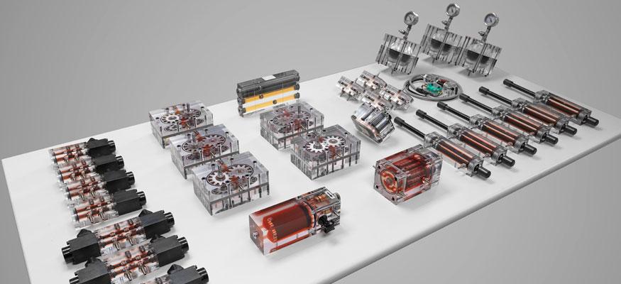Equipamiento didáctico para elementos de hidráulica transparente