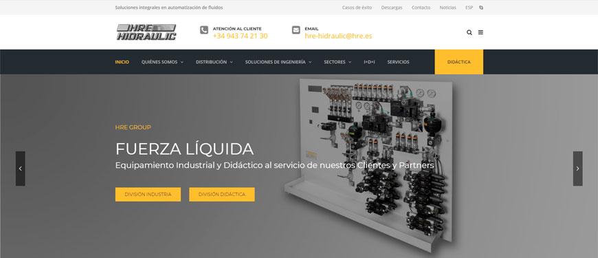 Nueva web de HRE GROUP que diferencia la división INDUATRIA y DiDÁCTICA